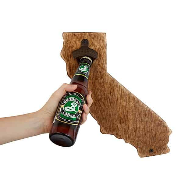 modern 6 year anniversary gift idea for couples: wall mounted state bottle opener