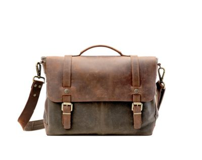 9th anniversary gift for husband: waxed leather messenger bag