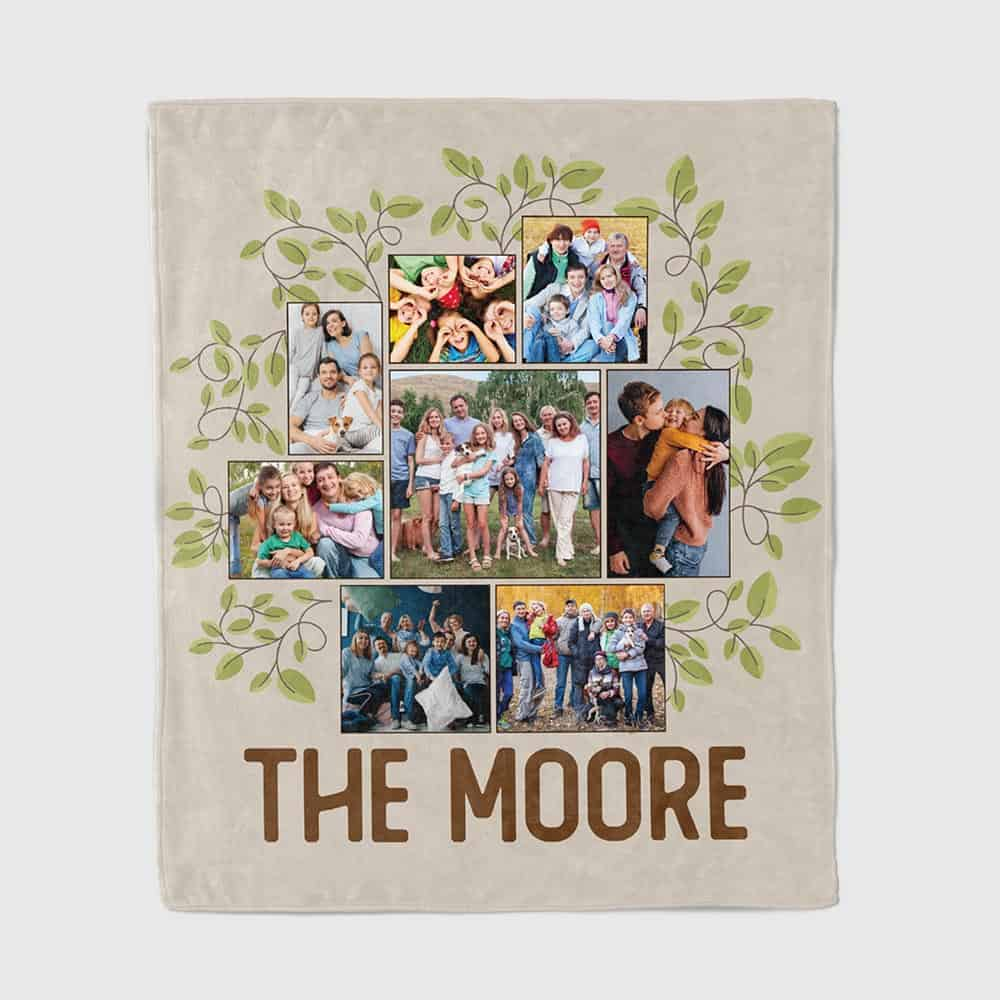 Photo Family Tree Personalized Throw Blanket - 40th anniversary gift
