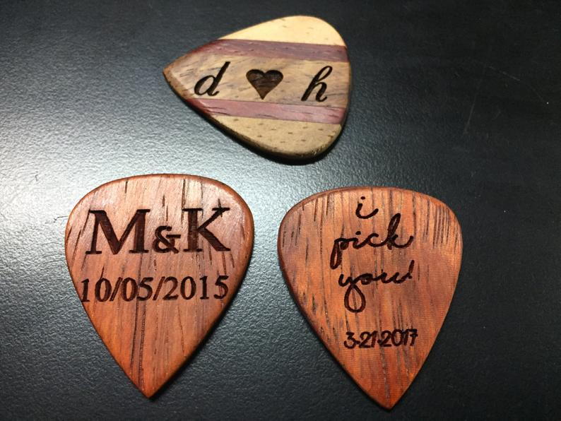valentine gifts for him romantic: engraved wood guitar pick