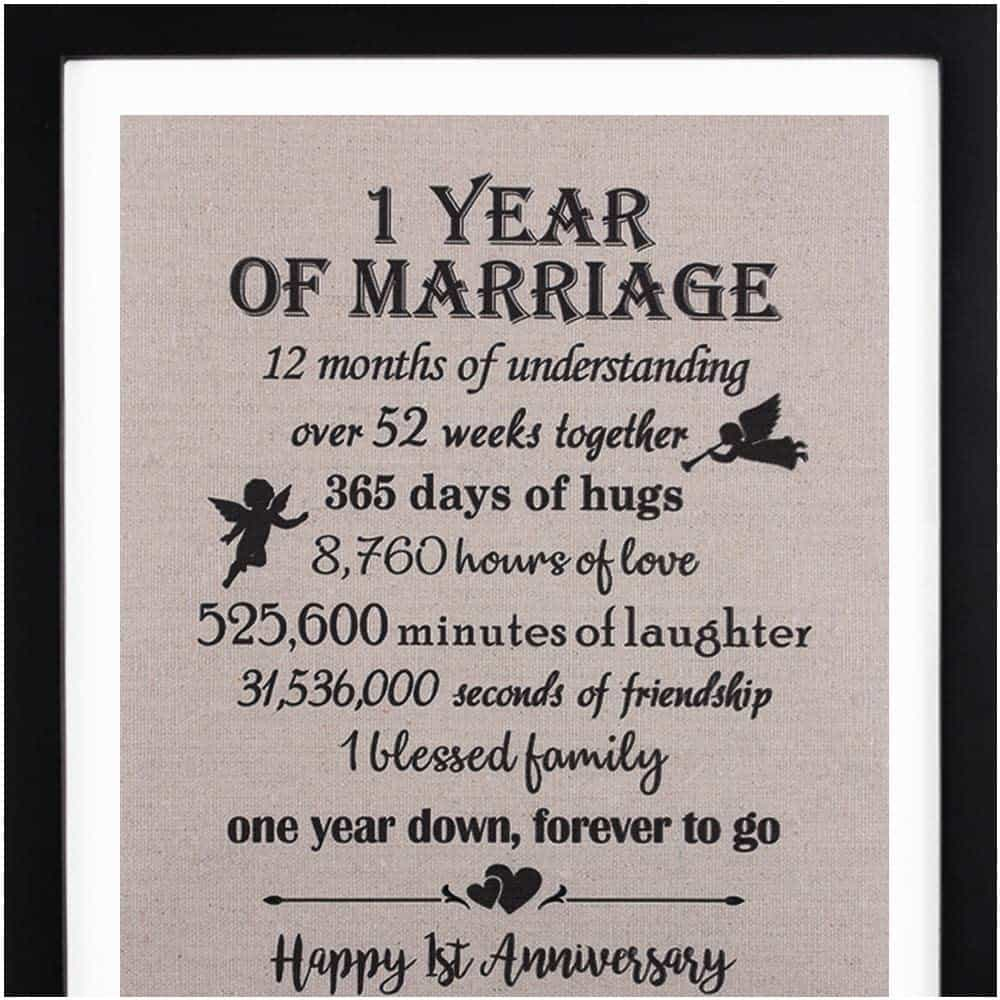 first year anniversary gifts - framed anniversary burlap print couples