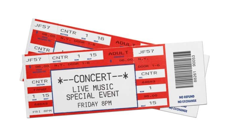 first anniversary gifts - ticket to the concert