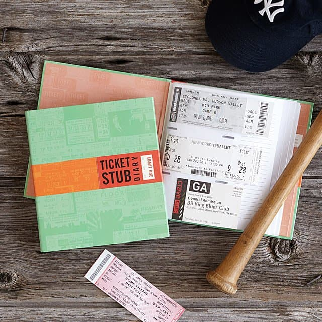 first anniversary gifts - ticket stub diary