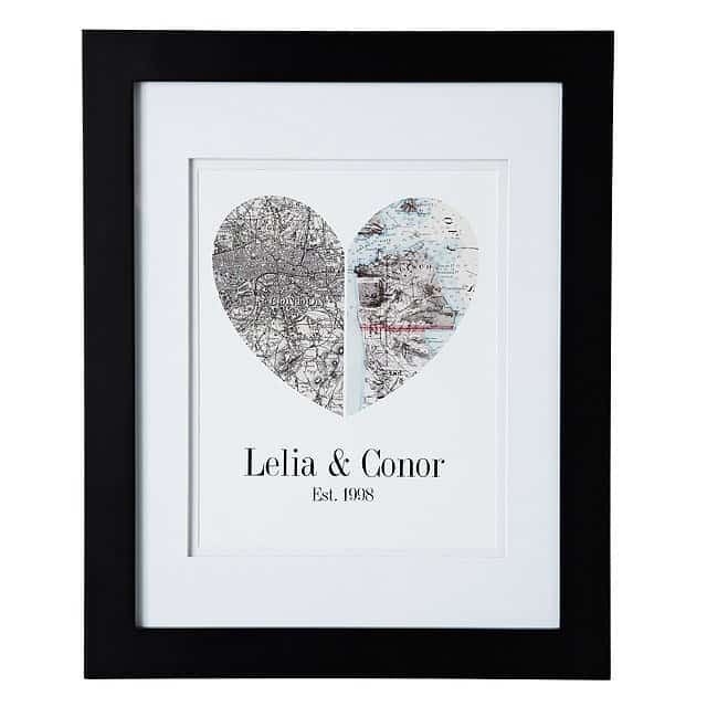 good valentines day gifts for him: map of our hearts