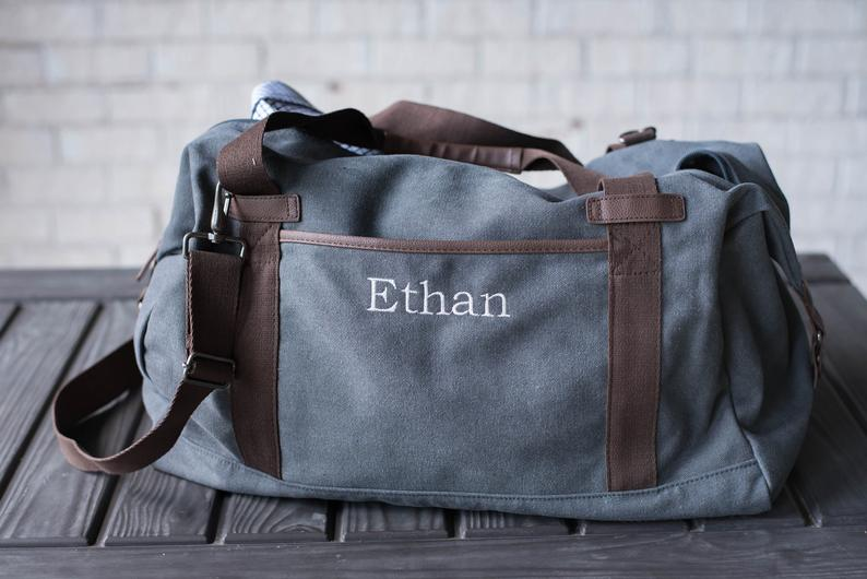 best valentines gifts for him: personalized weekender bag