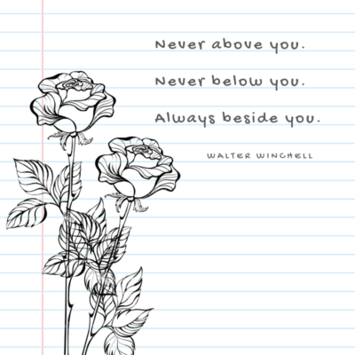 a loving quote for wife on Mother's Day - Never above you, never below you, always beside you.