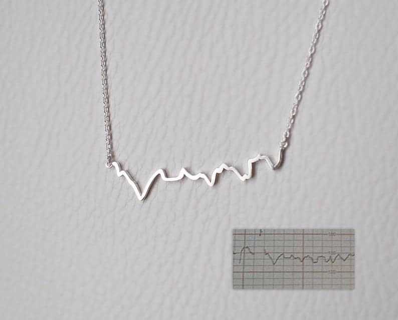 mother's day gift for mother to be: actual heartbeat necklace