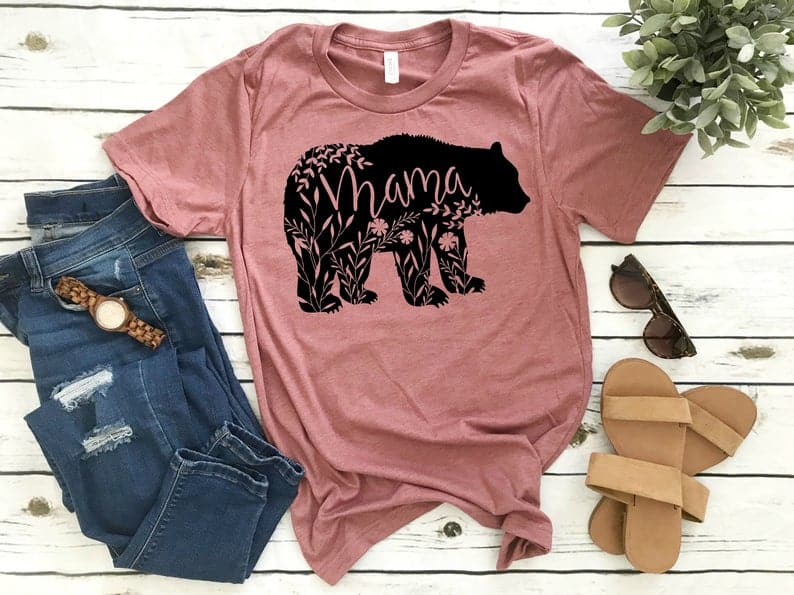 mothers day gifts for mom: mama bear t-shirt