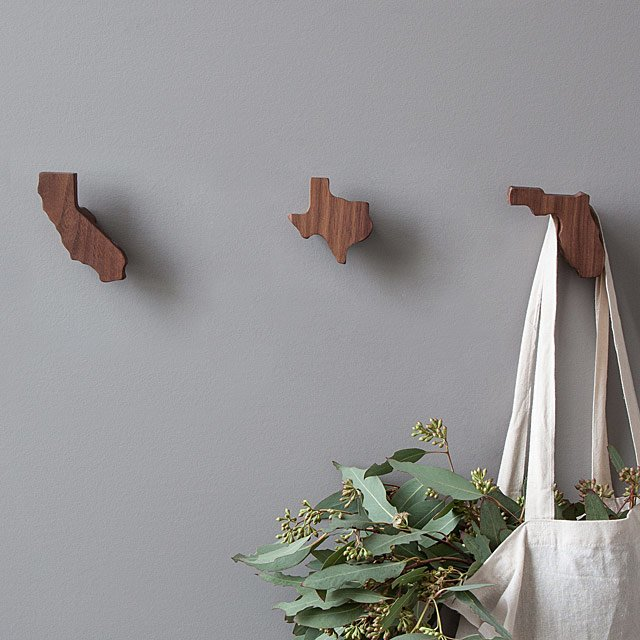 state shape wall hooks
