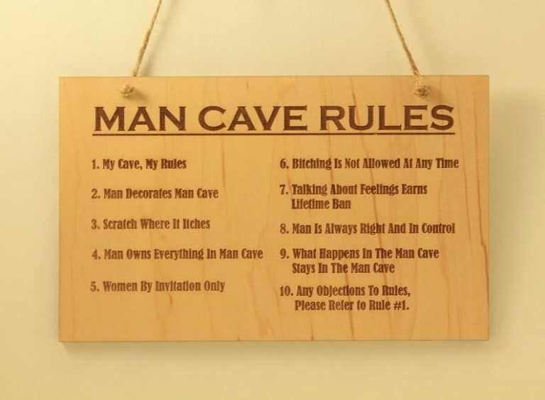 man cave rule sign wood