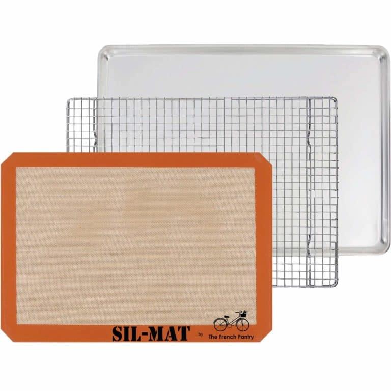 baking set for beginners: 3 piece baking set including sheet pan, cooling rack, baking mat