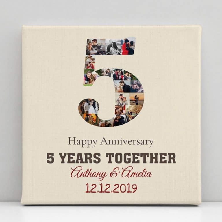 5 year anniversary gift for her: photo collage canvas print
