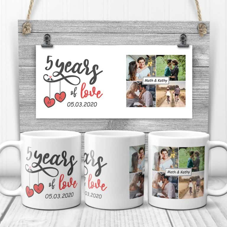 5 year anniversary gift ideas: custom photo mug