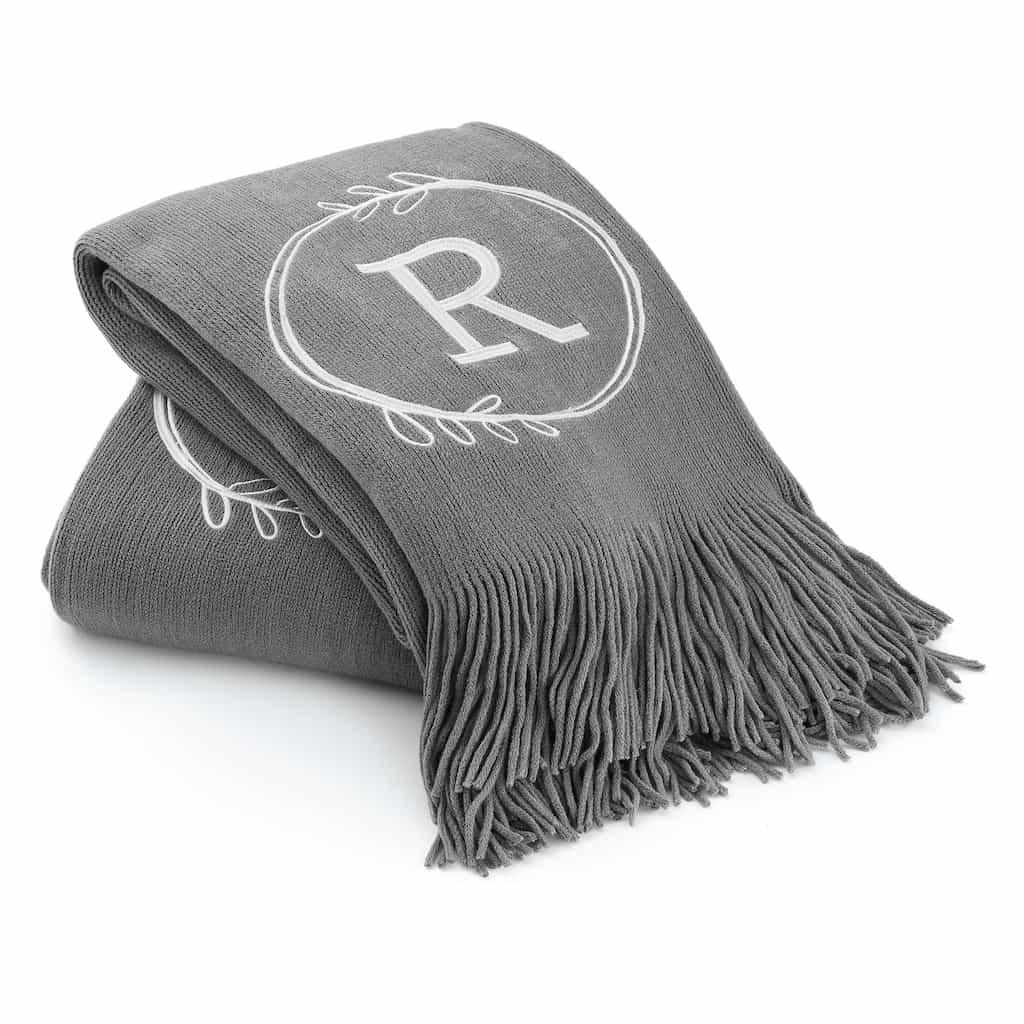 Dark Grey Initial Embroidered Throw Blanket As A Gift For A Nurse