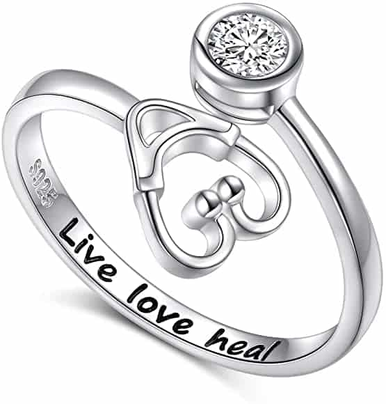 Live Love Heal Stethoscope Ring Jewelry for Women Nurse