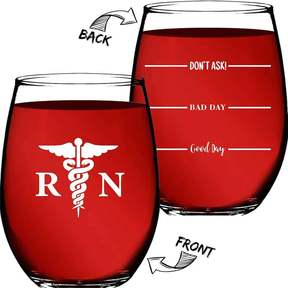 Nurse Gifts For Women RN – Good Day, Bad Day, Don't Ask Novelty Wine Glass – Funny Gifts For Nurses