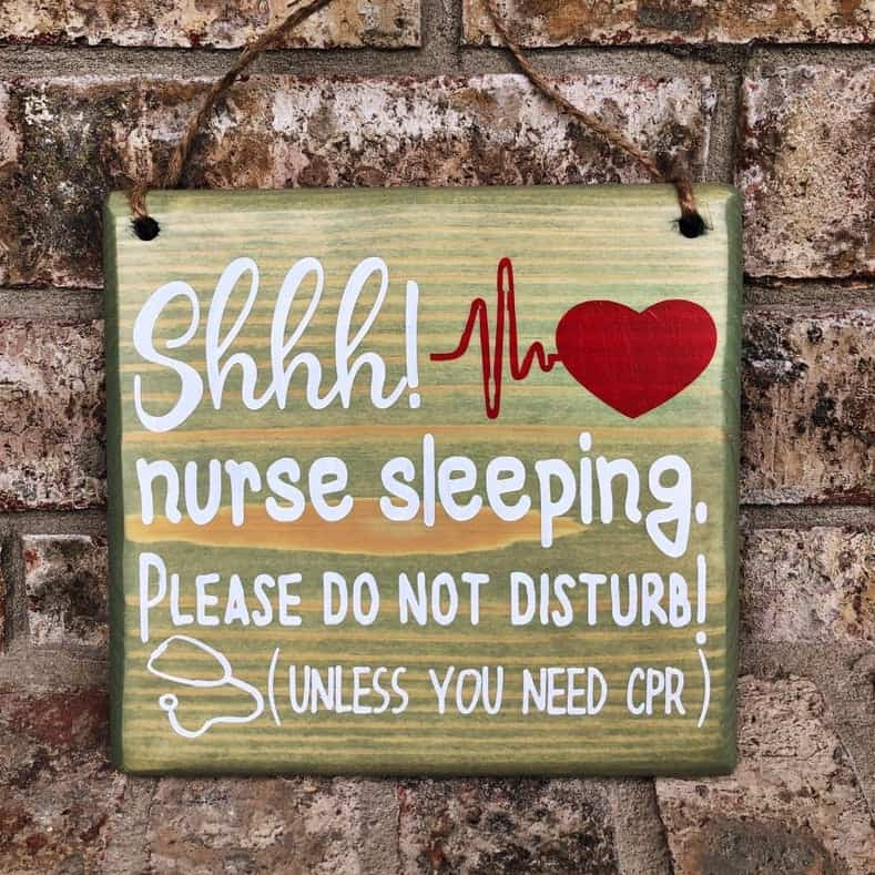 Sleeping Nurse Sign - Quirky Gifts For Nurses