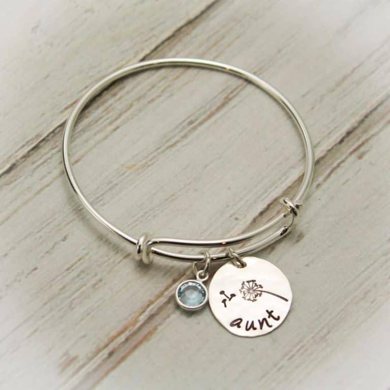 personalized aunt bangle bracelet