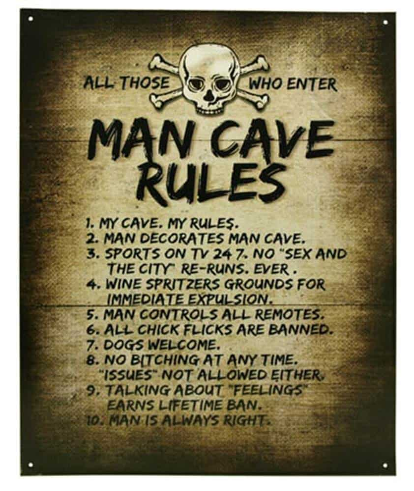 A Man Cave Sign With 10 Rules - Gift For A Man's Man Cave
