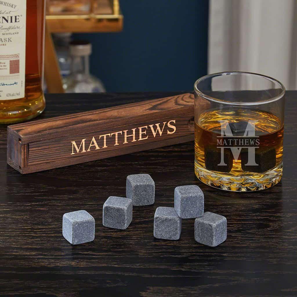 Oakmont Personalized Whiskey Glass & Stone Set For Men