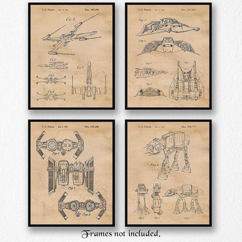 Vintage Star Wars Patent Poster Prints - Cool Gift For Brother's Dorm Room - A Cool Man Cave Gift For Geeks