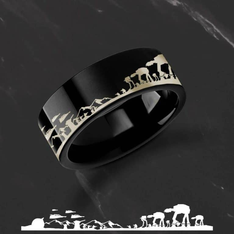 unique star wars gift for him: Engraved 'Star Wars Battle of the Hoth' Ring
