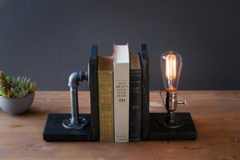 housewarming gift for men: industrial bookend lamp