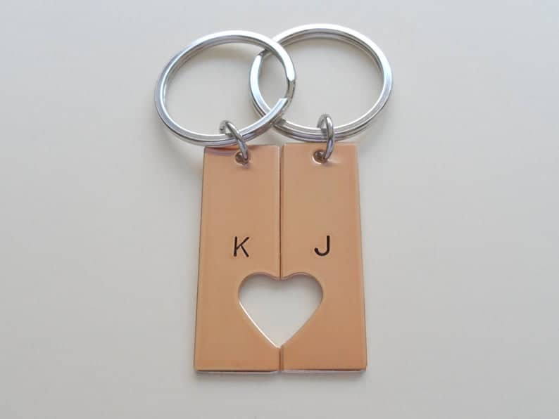 bronze gifts for couple: bronze couples keychains