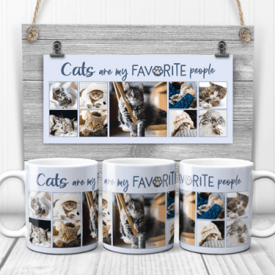 Cats Are My Favorite People Photo Collage Mug