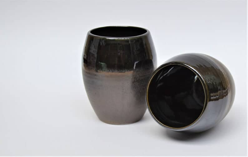 pottery gift for 8 year anniversary: ceramic stemless wineglass