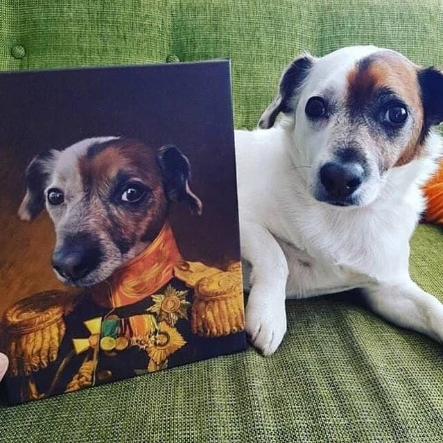 funny gifts for dog lovers: custom dog portrait canvas print