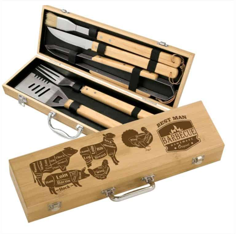 cool gifts for grillers: engraved bamboo grill set