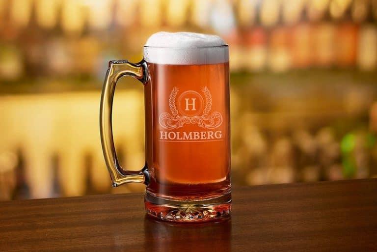 housewarming gifts for beer lovers: engraved beer mug
