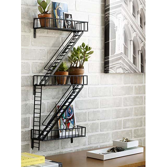 apartment warming gifts for him: shelf that looks like a fire escape
