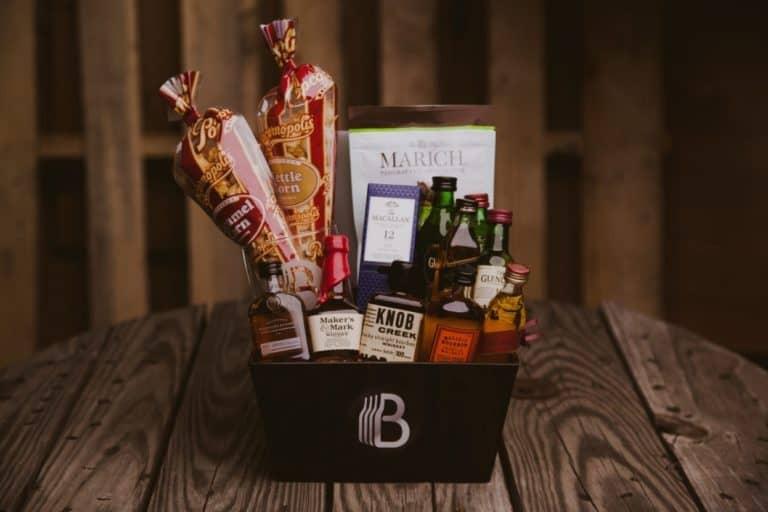 good housewarming gifts for men: a gift basket