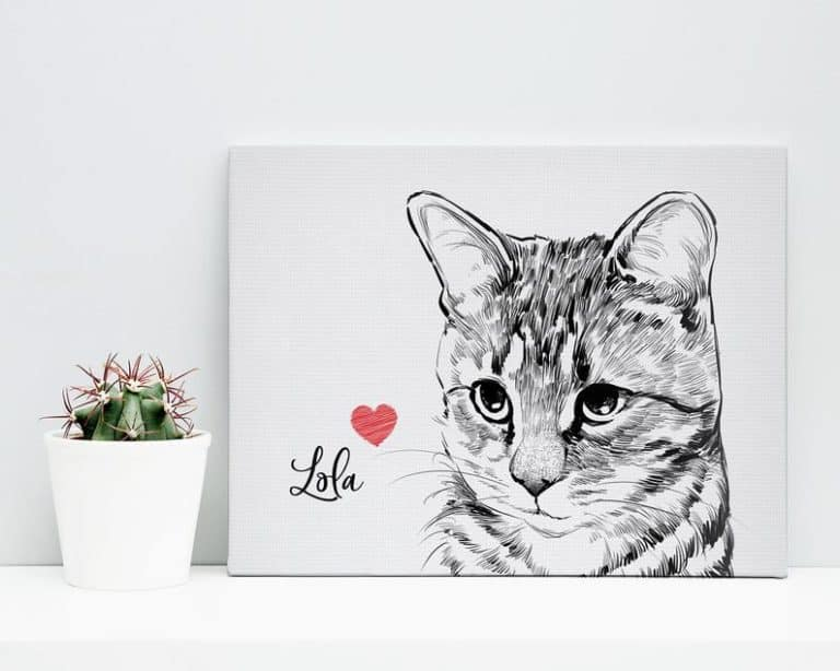 gifts for cat lovers - custom canvas cat portrait art