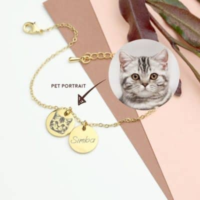 gifts for cat lovers - custom pet portrait bracelet