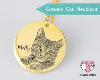 cat birthday gifts - personalized cat engraved necklace