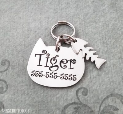 cool things for cats - engraved cat tag fishbones