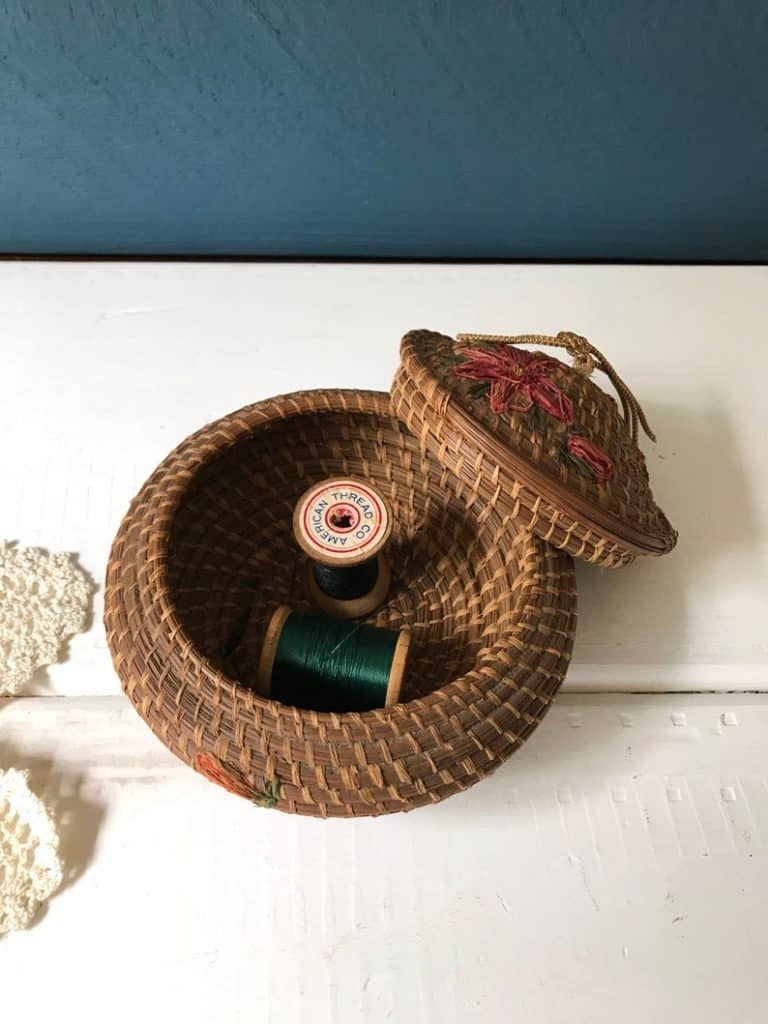gifts for quilters - vintage pine needles woven sewing box