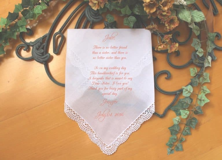 Sister Bridesmaid Gift handkerchief from the Bride - wedding gifts for sister