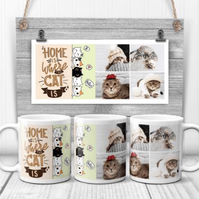 Home Is Where The Cat Is Cute Custom Photo Collage Mug