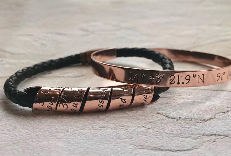 8th anniversary gift for husband: leather copper bracelet