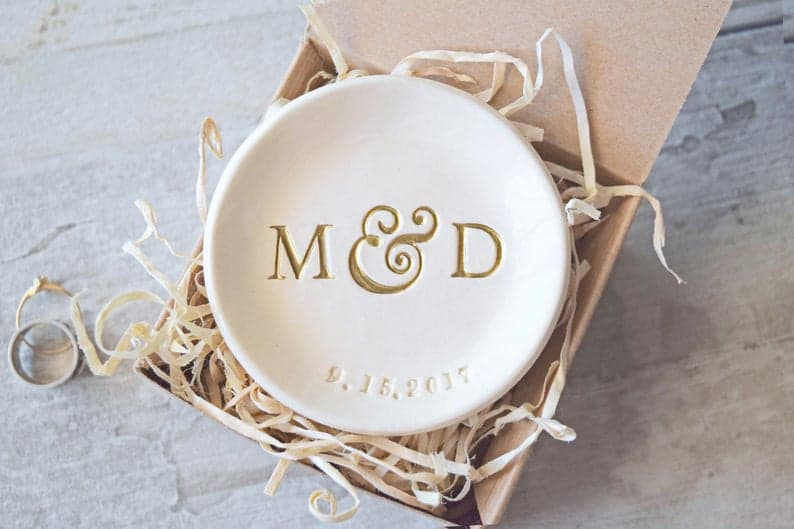 8th anniversary gift for her: monogram ring dish