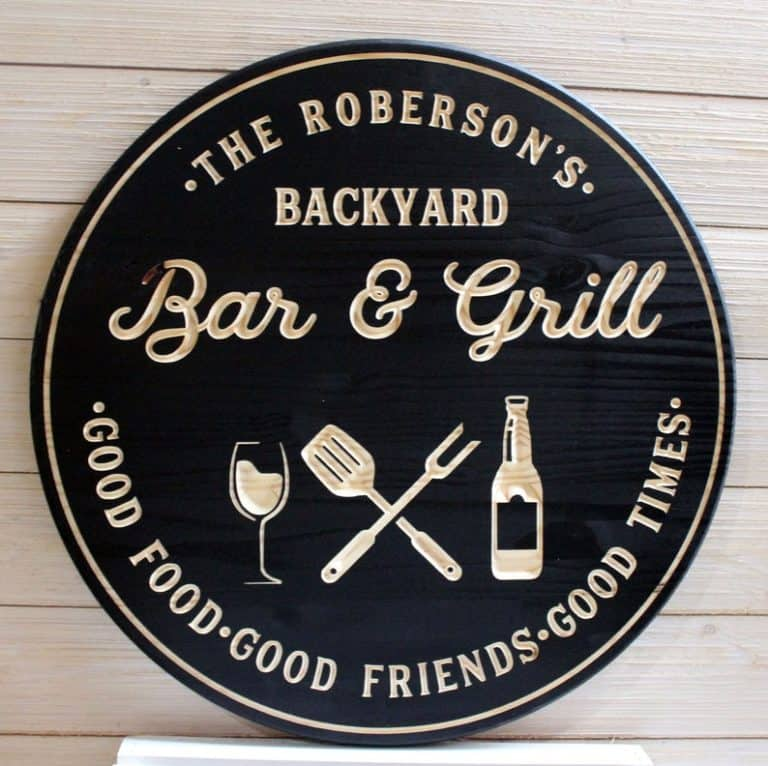 personalized grill gifts: personalized bar and grill sign