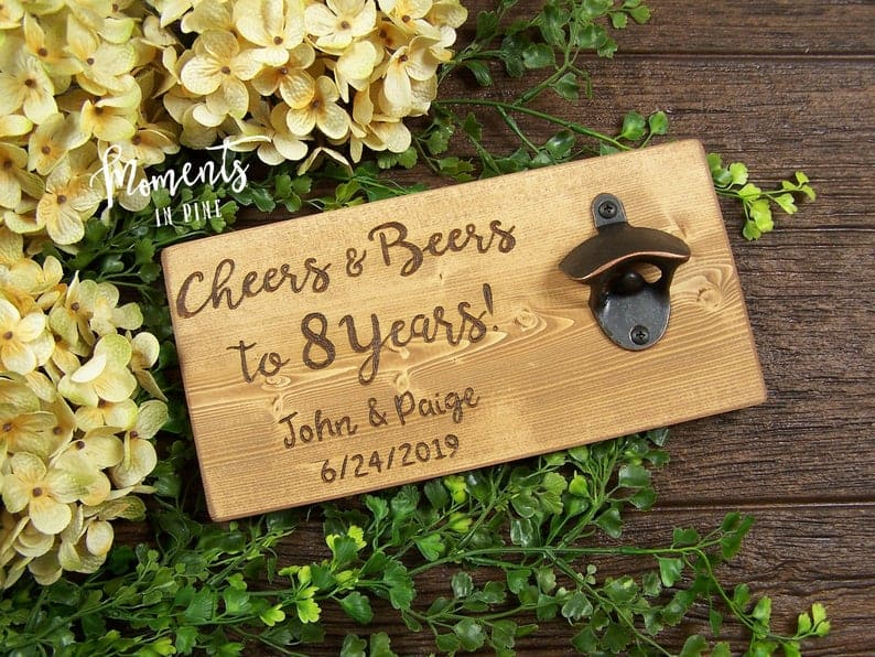 bronze anniversary gift for couples: personalized bottle opener