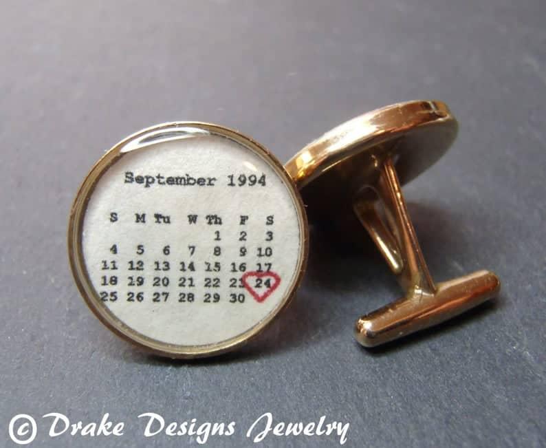 8 year anniversary gift for him: personalized bronze cufflinks