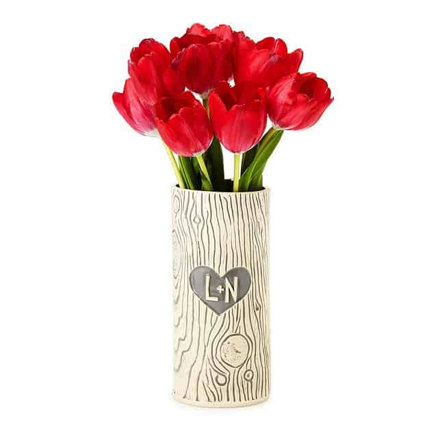8 year wedding anniversary gift idea: personalized faux bois vase