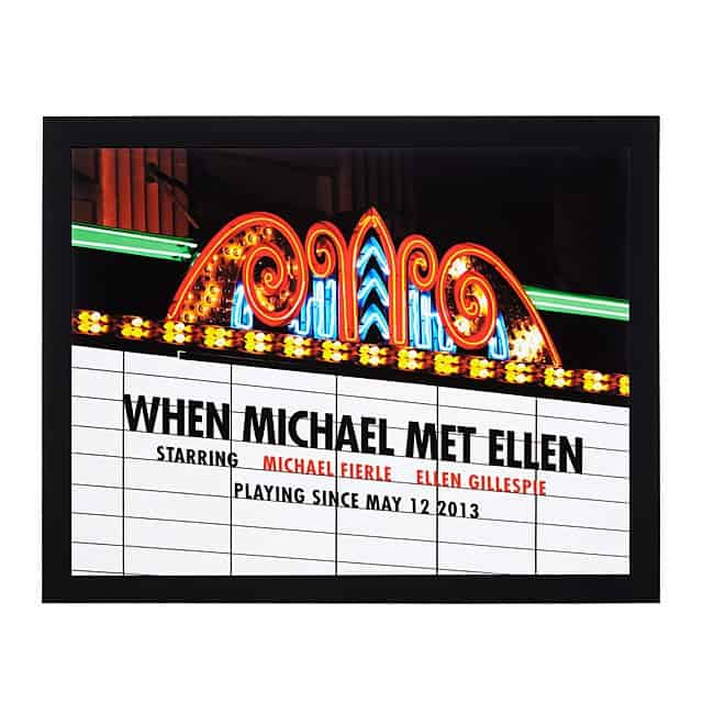 eight year anniversary gift: personalized movie marquee photo print