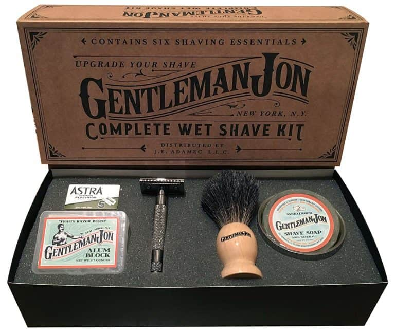 housewarming gifts for men: complete wet shave kit